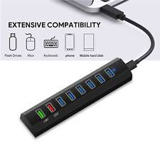"""8-Port USB Hub with 23/"""" Cable Cell Phone Adapter Charging 8 Port USB Hub"""