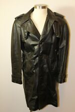 Vintage Mens Black Leather Coat By Grais 40R