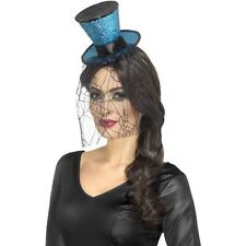Ladies Womens Girls Mini Gothic Top Hat Headband Fancy Dress Sexy Burlesque Blue