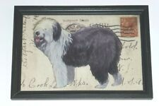 """Old English Sheepdog Reverse Printed 12"""" x 8 1/2"""" Wooden Framed Glass Print, Usa"""