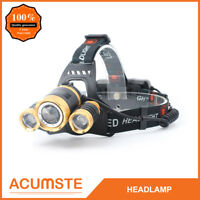 20000Lm Cree T6 3 LED Headlamp Hunting Head Light Flashlight Torch 18650 Charger