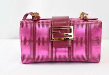 Fendi Vintage Box Bag Pink Fuchsia Square Geometric Print Leather Hot Pink Small