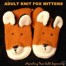 FOX MITTENS mens womens ADULT knit animal shaped costume HAT SEPARATE delux NEW