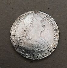 MEXICO SPANISH COLONIAL CHARLES IIII  1794-MoFM  8 REALES SILVER COIN, XF