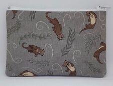 Beautiful Swimming Otters Fabric Handmade Zippy Coin Money Purse Storage Pouch