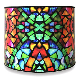"10"" Lampshade Mosaic Stained Glass Digital Print - Custom Made"
