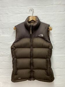 FF30 The North Face Down Feather Puffer Vest Gilet Jacket Brown Ladies Medium
