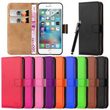New Wallet Leather Flip Case Cover For Various Apple iPhone + Free Screen Guard