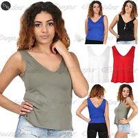 Womens Muscle Vest V Neck Front V Back Ladies Plain Casual Tank T Shirt Top
