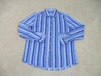 Bugatchi Uomo Button Up Shirt Adult Extra Large Blue White Striped Casual Men B9