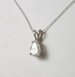 """14k White Gold .89 cts Pear Genuine Diamone Pendant with 18"""" Chain Not Scrap"""