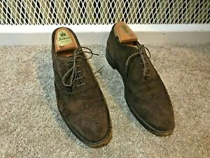 Alden 904 Mocha Dark Brown Suede Leather Wing Tip Bal Oxford Shoes Men's 9 USA