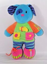 "Dressing Skill Buddies Plush Blue Dog 15"" Stuffed Animal zip tie buckle snap etc"