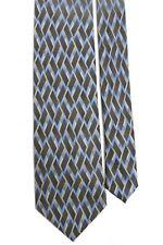 "Mark Jason Boys' 100% Silk Geometric Gray Blue Taupe Neck Tie 3"" x 51"""