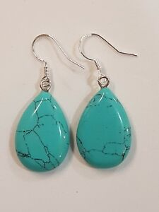 Natural turquoise coloured Stone Stirling Silver Earrings.