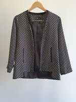 Asos Womens Size 12 Casual Corporate Polka Dot Lightweight Open Front Jacket EUC