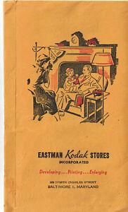 Vintage Eastman Kodak Envelope Pocket Photo Sleeve Baltimore Maryland ORG card