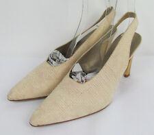 Via Spiga Slingback pumps pointed toe fabric Italy Ivory/Beige Womens Size 9.5 B