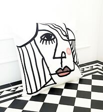 White Portrait Face Arty Deco Abstract contemporary Occasion Scatter Cushion