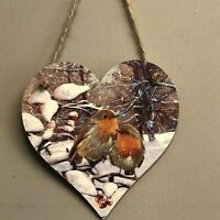 Robins Handmade Decoupaged large wooden hanging heart Christmas decoration 12cm