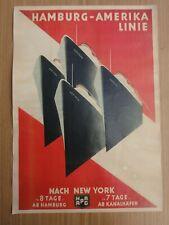 Altes Werbeplakat Schiffsplakat Hamburg Amerika Linie nach NEW YORK