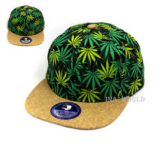 Cannabis hat Marijuana weed Snapback cap Cork pattern Brim Flat Hiphop bill