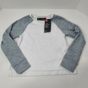 Under Armour Cold Gear Loose Youth Small Pull ovet Sweater White Gray NEW w tags