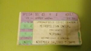 NIRVANA - KURT COBAIN DAVE GROHL Springfield,MA concert ticket stub 1993