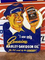 """VINTAGE """"HARLEY-DAVIDSON"""" GAS & OIL DEALER PLATE HEAVY PORCELAIN SIGN 13X18 IN."""