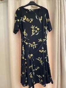 Principles Black Fit & Flare Dress Size 16 Boho Party