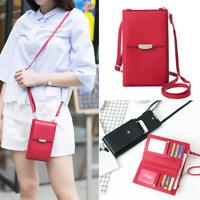 Women Wallet Purse Shoulder Bag PU Leather Coin Cell Phone Mini Crossbody Bag AU