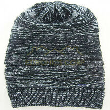 Unisex Women Men Knit Baggy Beanie Beret Winter Warm Oversized Ski Cap black