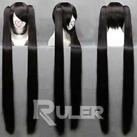New Long BLACK ROCK SHOOTER Black Anime Cosplay wig+ 2Clip On Ponytail