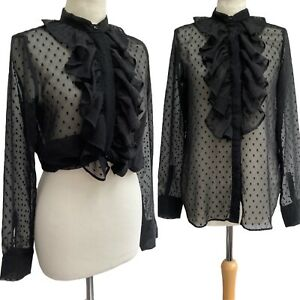 H&M Gothic Black Blouse 10 12 UK Halloween Sheer Ruffle Noir Victorian Top Goth