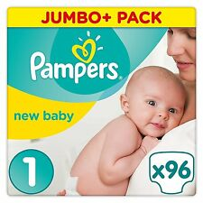Pampers Baby Premium Protection Size 1 Nappies Jumbo Pack of 96 Newborn Babies
