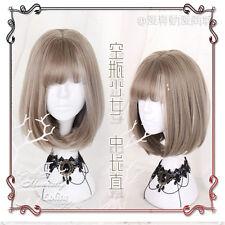 Vintage Sweet Lolita Gray Japanese Harajuku Straight hair Cute Cosplay Daily Wig