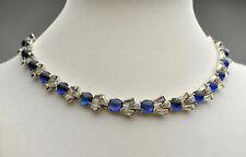 Joseph Mazer Rhinestone Diamond Poured Glass Sapphire Necklace - circa 1940's