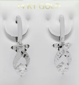 WHITE SAPPHIRE 1.10 Cts DANGLING EARRINGS 14K WHITE GOLD * New With Tag *