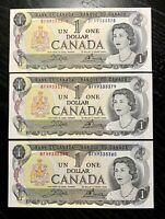 1973 $1 BANK OF CANADA SET OF 3 CONSECUTIVES PREFIX:BFH - GEM UNC!