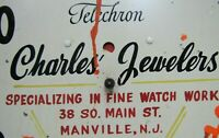 CHARLES JEWELERS MANVILLE NJ OLD TELECHRON CLOCK FACE SIGN WATCH WORK USA *NOAG