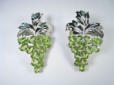 GRAPES & LEAVES EARRINGS 15.1 CTW PERIDOT White Gold-plated 925 STERLING SILVER