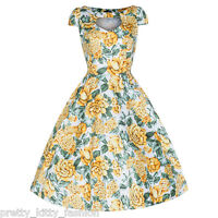 PRETTY KITTY LEMON YELLOW FLORAL BLOOM PROM ROCKABILLY COCKTAIL SWING DRESS 8-18