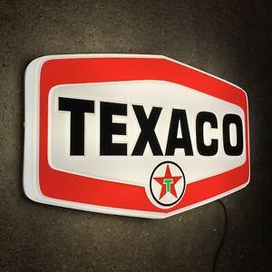 TEXACO LED ILLUMINATED LIGHT BOX WALL SIGN GARAGE OIL GAS STATION AUTOMOBILIA