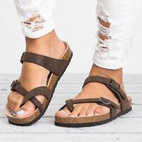 Womens Slide Buckle Cork Footbed Platform Flip Flops Summer Shoes Flat Sandals
