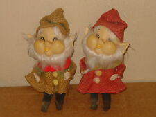 "VINTAGE HARD PLASTIC FACE MADE IN JAPAN 7 1/2"" ELF GNOME DOLL LOT OF (2)"