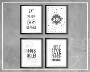 Gaming Prints Grey Bedroom Decor Eat Sleep Game Repeat Gamer Games Room Wall Art