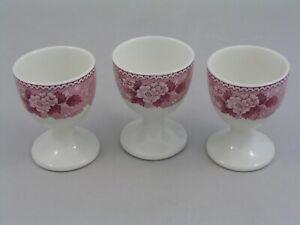 THREE RARE ADAMS ENGLISH SCENIC PINK EGG CUPS.