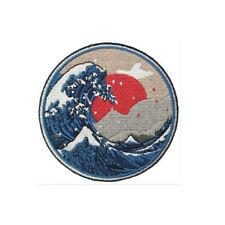 Badge Sew On Wave Patch Iron off Patches transfers Embroidered Kanagawa applique