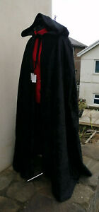 hooded cloak black velvet super crush with lining in the hood