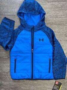 NEW Under Amour Boys Trekker Lightweight Quilted Blue Jacket Coat SPELLOUT SZ 4